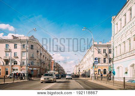Gomel, Belarus - March 17, 2017: City Traffic In Sovetskaya Street In Sunny Spring Day
