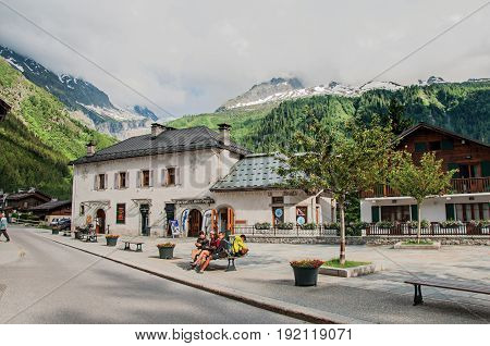 Argentière, France - June 26, 2016. Village center with houses and alpine landscape in Argentière, an adorable ski and hike resort located in Haute-Savoie Province, near Chamonix in the French Alps