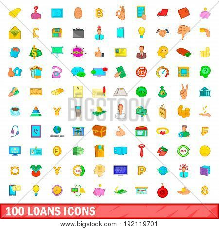 100 loans icons set in cartoon style for any design vector illustration