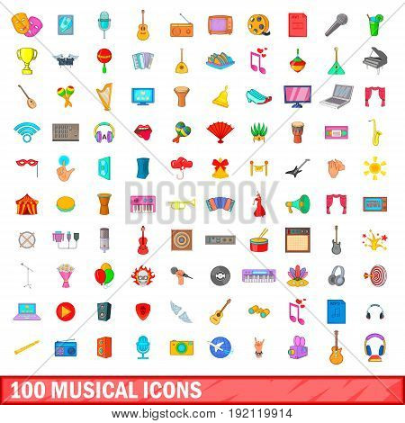 100 musical icons set in cartoon style for any design vector illustration