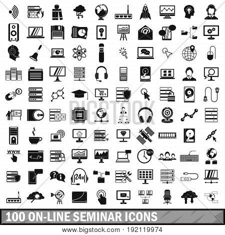 100 on-line seminar icons set in simple style for any design vector illustration
