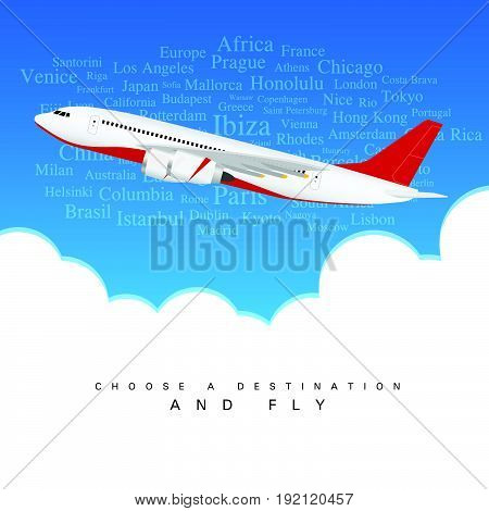 Airplane In Colored Tail Set With Two Motors Above The Clouds Illustration
