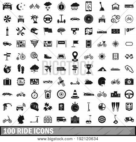 100 ride icons set in simple style for any design vector illustration