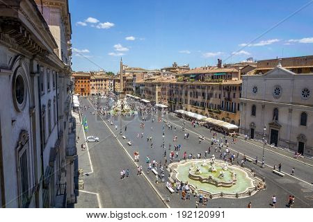 Rome Italy - June 18 2017: Aerial view of Piazza Navona. Many tourists enjoy this international landmark