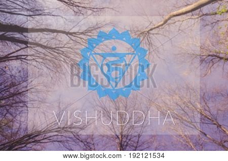 Vishuddha chakra symbol. Poster for yoga class with sky view.