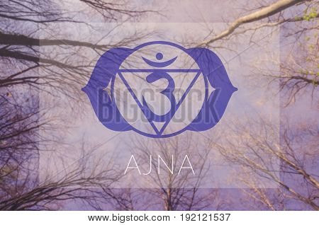 Ajna chakra symbol. Poster for yoga class with sky view.