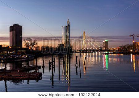 Riga, LV - MAY 5, 2017: Beautiful city silhouette in twilight