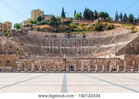 View of the Roman Theater in Amman Jordan