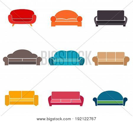 Sofas and couches furniture black vector icons. Sofa interior, couch furniture
