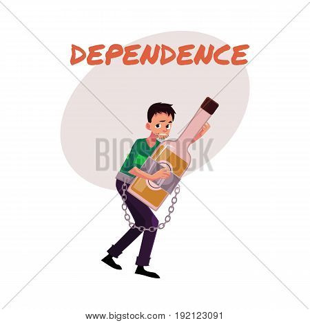 Financial dependence poster, banner template with man holding bottle of liquor, chained to it, alcohol dependence, abuse, disorder, cartoon vector illustration isolated on white background.