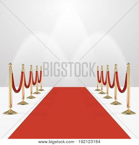 Red carpet with red ropes on golden stanchions. Exclusive event, movie premiere, gala, ceremony, awards concept. Blank template illustration with space for an object, person, , text.