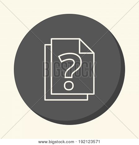 A stack of documents with a question mark a vector circular line icon with an illusion of volume a simple color change