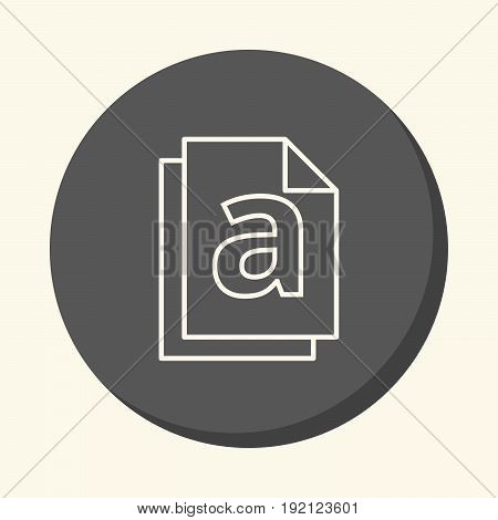 Stack of documents and the letter a a vector circular line icon with an illusion of volume a simple color change