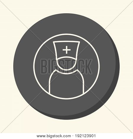 Avatar silhouette of a doctor or priest in a hat with a cross vector round line icon with an illusion of volume a simple color change