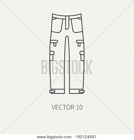 Line flat vector hunt and camping icon - khaki pants. Hunter equipment, armament. Retro cartoon style. Wildlife travel. Camouflage. Forest. Nature. Illustration and element for your design, wallpaper.