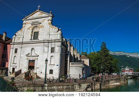 Annecy, France - June 28, 2016. Front facade of the Church Saint François de Sales, city center of the historic Annecy, department of Haute-Savoie, Auvergne-Rhône-Alpes region, south-eastern France