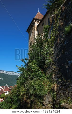 View of the back wall of the castle of Annecy with plants covering the stones, city center of Annecy. Located in the department of Haute-Savoie, Auvergne-Rhône-Alpes region, in south-eastern France