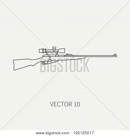 Line flat vector hunt and camping icon sniper rifle. Hunter equipment, armament. Retro cartoon style. Wildlife travel. Camouflage. Forest. Aim. Nature. Illustration and element for design, wallpaper.