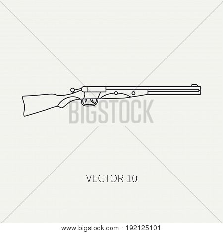 Line flat vector hunt and camping icon shotgun, rifle. Hunter equipment, armament. Retro cartoon style. Wildlife travel. Camouflage. Forest. Nature. Illustration and element for design, wallpaper