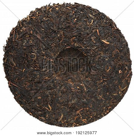 Ripe Menghai puerh top view isolated round shape