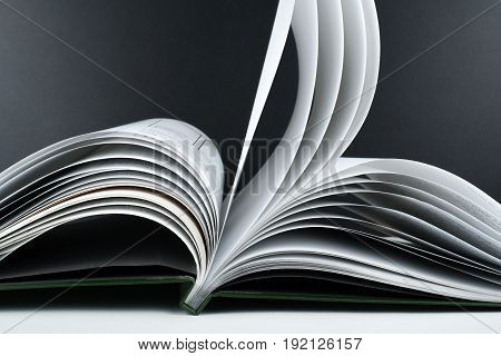 Macro view of book pages. Concept passion and fire, sail