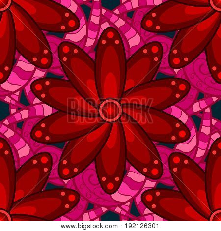 Watercolor hand painting of abstract blue and pink flowers seamless pattern vector background.