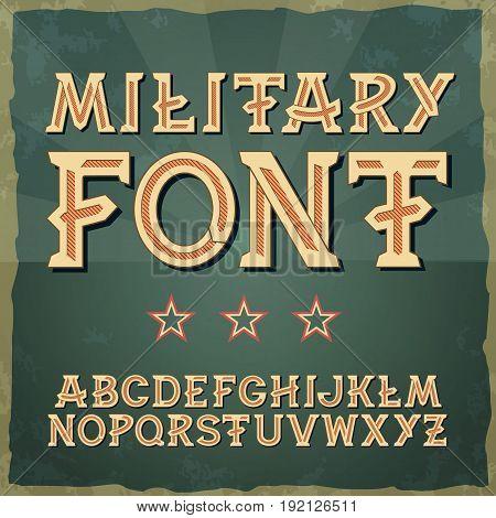 Retro type font, vintage typography. Vintage alphabet vector font for labels, titles, posters. 1941-1945