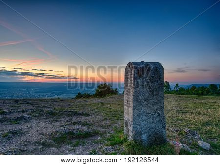 Evening Landscape And A Mile Stone On The Famous Hill Walberla At The Franconian Suisse In Bavaria I