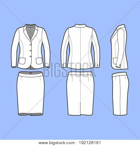 Womens clothing set. Blank template of classic blazer and pencil skirt in front, back and side views. Casual style. Workwear suit. Vector illustration for your fashion design.