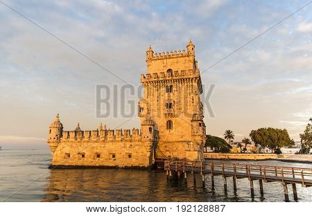 Sunrise view of historical Belem tower in Lisbon