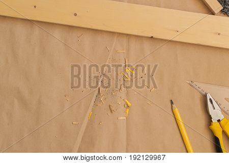 Carpenter handyman workshop desk tabletop for woodwork job as copy space