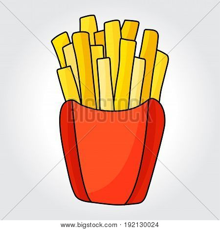 French fries in paper box vector icon. Design elements for style design.