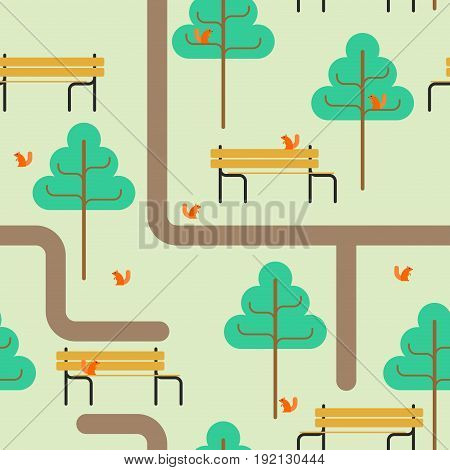 Park Map Pattern. Path And Tree Ornament. Bench And Squirrel. Square Landscape Background. Kids Fabr