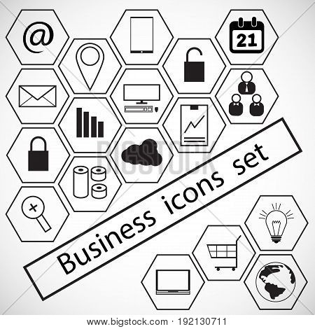 Business icons set. Icons for business and data management
