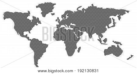 Blank grey similar World Map and zigzag pattern isolated on white background. Proportions 1:2. Template for citybanner website design cover infographics and more. Flat Earth Graph World map illustration. Eps10 Vector.