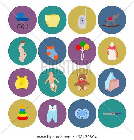pregnancy baby icon birth set woman waiting