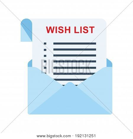 Wish list and shopping schedule check list. Flat vector cartoon illustration. Objects isolated on a white background.