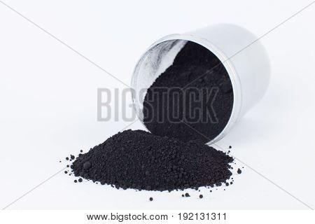 bone black pigment on a white background