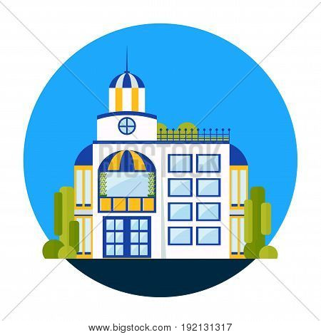 Residential building and house. Commercial building exterior residential neighborhood. Flat vector cartoon illustration. Objects isolated on a white background.