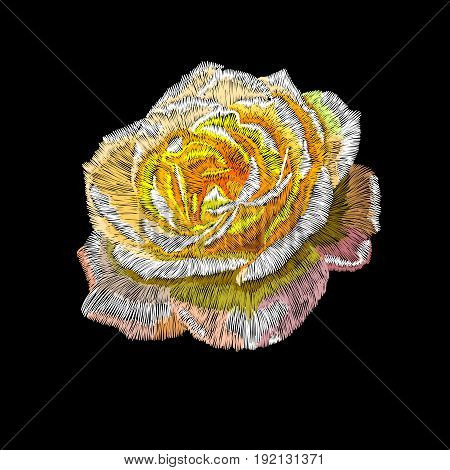 Yellow embroidery rose, embroidery rose, graphic embroidery rose, flower ebroidery rose, fabric embroidery rose, lace embroidery rose. Vector.