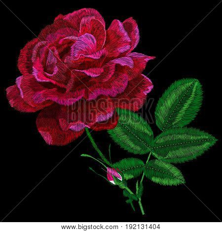 Red embroidery rose, embroidery rose, graphic embroidery rose, flower ebroidery rose, fabric embroidery rose, lace embroidery rose. Vector.
