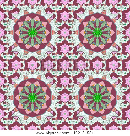 Colored Mandalas on colorfil background. Oriental pattern. Islam Arabic Indian turkish pakistan chinese ottoman motifs. Vintage vector decorative elements.