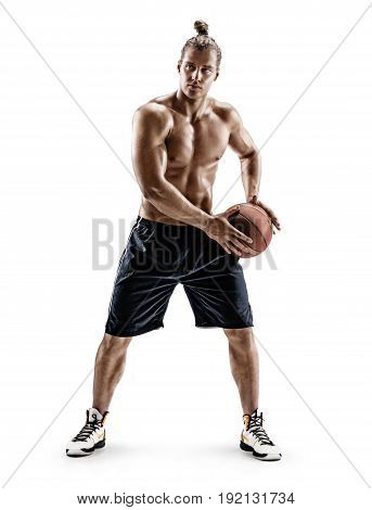 Basketball player passing the ball. Handsome man playing basketball on white background. Strength and motivation. Full length