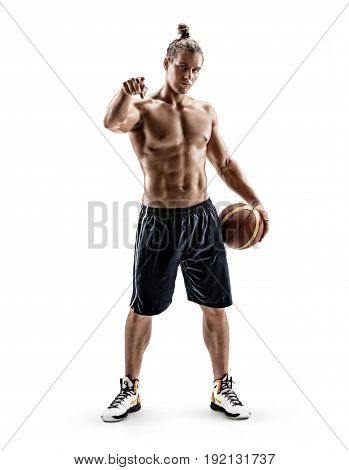 Portrait of confident young man shirtless with ball pointing to the front on white background. Strength and motivation