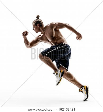 Man runner in silhouette on white background. Dynamic movement. Side view. Strength and motivation.