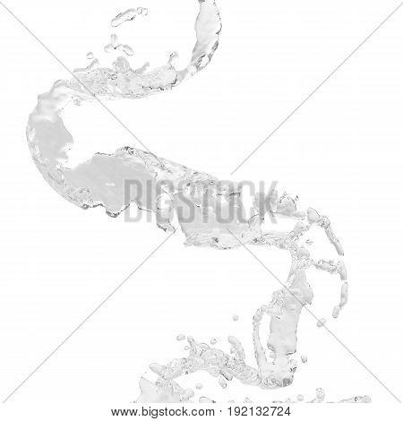Water spiral jet, brown splash, liquid wave, splashing loops, curvy line, isolated on white background, 3d rendering