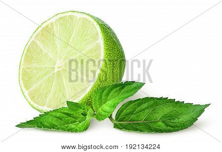 Half lime and sprig of mint isolated on white background
