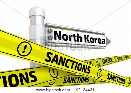 Sanctions against North Korea. Street sign with the word