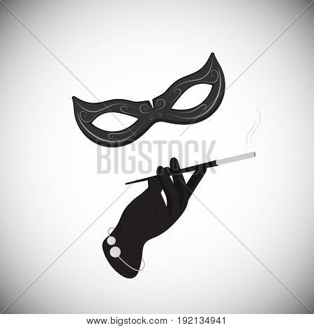 Carnival mask. Hand. Cigarette in the mouthpiece