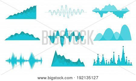 Vector sound waves set. Audio Player. Audio equalizer technology,